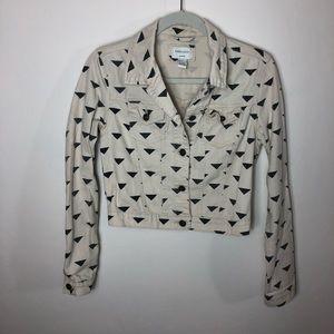 Cream denim jacket with triangle print